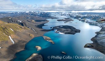 Lake Langisjor in the interior highlands of Iceland, Aerial View., natural history stock photograph, photo id 35781