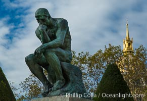 The Thinker (Le Penseur) is a bronze sculpture on marble pedestal by Auguste Rodin. now in the Musee Rodin in Paris. It depicts a man in sober meditation battling with a powerful internal struggle. It is often used to represent philosophy. Musee Rodin, Paris, France, natural history stock photograph, photo id 28173