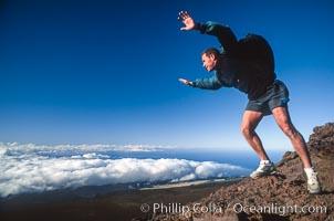 Leaping off  Haleakala, Maui, Hawaii