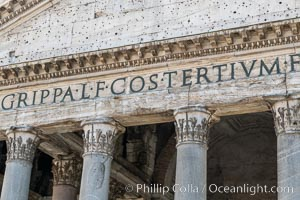 Lettering on the front of the Pantheon, Rome