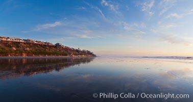 Leucadia wet sand beach and sea cliffs, sunset, Encinitas, California