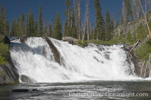 Lewis Falls drops 30 feet on the Lewis River, near the south entrance to Yellowstone National Park. Wyoming, USA, natural history stock photograph, photo id 13290