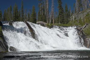 Lewis Falls drops 30 feet on the Lewis River, near the south entrance to Yellowstone National Park