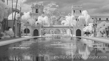 Lily Pond, Casa de Balboa and House of Hospitality, infrared, Balboa Park, San Diego, California
