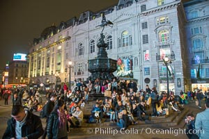 Piccadilly, London at Night. London, United Kingdom, natural history stock photograph, photo id 28277