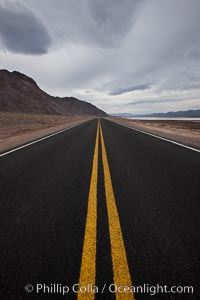 Lonely road, Death Valley, Badwater, Death Valley National Park, California