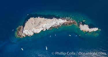Los Islotes, famous for its friendly colony of California sea lions, part of Archipelago Espiritu Santo, Sea of Cortez, Aerial Photo