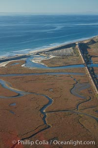 Los Penasquitos Marsh, seen from above along the coast south of Del Mar, where it exchanges fresh and salt water iwith the Pacific Ocean along Torrey Pines State Beach. San Diego, California, USA, natural history stock photograph, photo id 22309