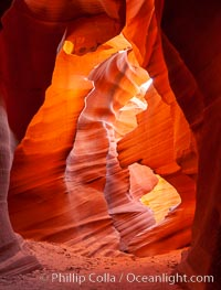 Lower Antelope Canyon, a deep, narrow and spectacular slot canyon lying on Navajo Tribal lands near Page, Arizona. Navajo Tribal Lands, Page, Arizona, USA, natural history stock photograph, photo id 26628
