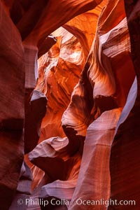 Lower Antelope Canyon, a deep, narrow and spectacular slot canyon lying on Navajo Tribal lands near Page, Arizona. Navajo Tribal Lands, Page, Arizona, USA, natural history stock photograph, photo id 26650