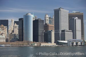 Image 11096, Lower Manhattan skyline viewed from the Brooklyn Bridge. Manhattan, New York City, New York, USA