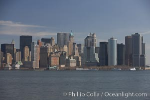 Lower Manhattan skyline viewed from the Hudson River. Manhattan, New York City, New York, USA, natural history stock photograph, photo id 11110