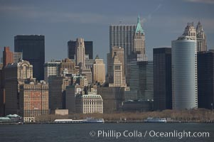 Lower Manhattan skyline viewed from the Hudson River. Manhattan, New York City, New York, USA, natural history stock photograph, photo id 11112