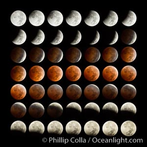 Lunar eclipse sequence. While the moon lies in the full shadow of the earth (umbra) it receives only faint, red-tinged light refracted through the Earth's atmosphere. As the moon passes into the penumbra it receives increasing amounts of direct sunlight, eventually leaving the shadow of the Earth altogether. October 8, 2014., natural history stock photograph, photo id 29411