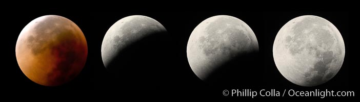 Lunar eclipse sequence, showing total eclipse (left) through full moon (right).  While the moon lies in the full shadow of the earth (umbra) it receives only faint, red-tinged light refracted through the Earth's atmosphere.  As the moon passes into the penumbra it receives increasing amounts of direct sunlight, eventually leaving the shadow of the Earth altogether.  August 28, 2007, Earth Orbit, Solar System, Milky Way Galaxy, The Universe