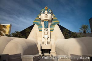 Egyptian Sphinx, replica, front entrance of the Luxor Hotel in Las Vegas. Nevada, USA, natural history stock photograph, photo id 25216