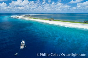 Aerial photo of M/V Nautilus Undersea at Clipperton Island.  Clipperton Island, a minor territory of France also known as Ile de la Passion, is a small (2.3 sq mi) but  spectacular coral atoll in the eastern Pacific. By permit HC / 1485 / CAB (France). Clipperton Island, France, natural history stock photograph, photo id 32875