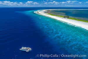 Aerial photo of M/V Nautilus Undersea at Clipperton Island.  Clipperton Island, a minor territory of France also known as Ile de la Passion, is a small (2.3 sq mi) but  spectacular coral atoll in the eastern Pacific. By permit HC / 1485 / CAB (France)