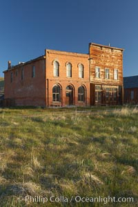 Main Street buildings, Dechambeau Hotel (left) and I.O.O.F. Hall (right). Bodie State Historical Park, California, USA, natural history stock photograph, photo id 23137