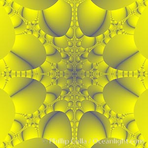 Detail within the Mandelbrot set fractal.  This detail is found by zooming in on the overall Mandelbrot set image, finding edges and buds with interesting features.  Fractals are complex geometric shapes that exhibit repeating patterns typified by self-similarity, or the tendency for the details of a shape to appear similar to the shape itself.  Often these shapes resemble patterns occurring naturally in the physical world, such as spiraling leaves, seemingly random coastlines, erosion and liquid waves.  Fractals are generated through surprisingly simple underlying mathematical expressions, producing subtle and surprising patterns.  The basic iterative expression for the Mandelbrot set is z = z-squared + c, operating in the complex (real, imaginary) number set, Mandelbrot set
