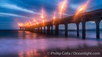 Manhattan Beach Pier at sunset. California, USA, natural history stock photograph, photo id 29143
