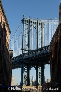 Image 11052, Manhattan Bridge viewed from Brooklyn. New York City, USA, Phillip Colla, all rights reserved worldwide.   Keywords: architecture building:big apple:bridge:city:manhattan bridge:new york:new york city:urban:usa.