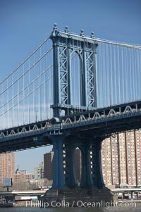 Manhattan Bridge viewed from the East River.  Lower Manhattan visible behind the Bridge. Manhattan Bridge, New York City, New York, USA, natural history stock photograph, photo id 11057