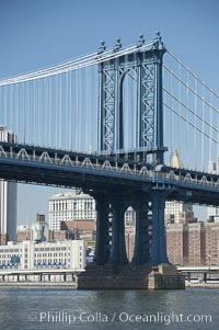 Manhattan Bridge viewed from the East River.  Lower Manhattan visible behind the Bridge. Manhattan Bridge, New York City, New York, USA, natural history stock photograph, photo id 11059