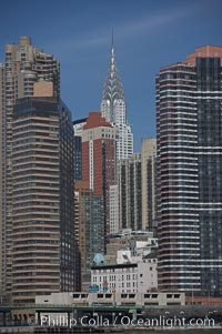 The Chrysler Building rises above the New York skyline as viewed from the East River. Manhattan, New York City, USA, natural history stock photograph, photo id 11128