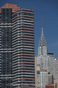 The Chrysler Building rises above the New York skyline as viewed from the East River, Manhattan, New York City