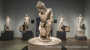 Marble statue of a naked Aphrodite crouching at her bath, Roman, 2nd century AD. British Museum, London, United Kingdom, natural history stock photograph, photo id 28310