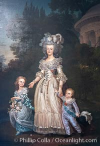 Marie Antoinette with her two eldest children, Marie-Th�r�se Charlotte and the Dauphin Louis Joseph, in the Petit Trianon�s gardens, by Adolf Ulrik Wertm�ller, Chateau de Versailles, Paris. Chateau de Versailles, Paris, France, natural history stock photograph, photo id 35625