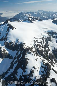 Glaciers on the summit of Mariner Mountain, on the west coast of Vancouver Island, British Columbia, Canada, part of Strathcona Provincial Park, located 36 km (22 mi) north of Tofino.  It is 1,771 m (5,810 ft) high and is snow covered year-round