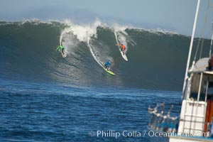 Brock Little (green), Shane Desmond (blue), Randy Cone (orange), heat one, Mavericks surf contest, February 7, 2006, Half Moon Bay, California