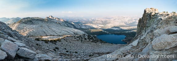 May Lake from Summit of Mount Hoffmann, sunset, viewed toward northeast including Tuolumne Meadows, panorama, Yosemite National Park