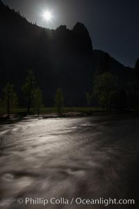 Merced River and full moon, Yosemite National Park, California