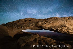 Mesa Arch and Milky Way at night. Mesa Arch, Canyonlands National Park, Utah, USA, natural history stock photograph, photo id 27826