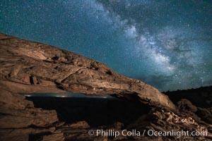 Mesa Arch and Milky Way at night. Canyonlands National Park, Utah, USA, natural history stock photograph, photo id 27828