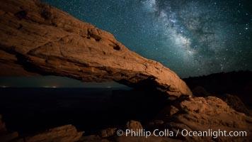 Mesa Arch and Milky Way at night, Canyonlands National Park, Utah