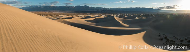 Mesquite Dunes at sunrise, dawn, clouds and morning sky, sand dunes. Death Valley National Park, California, USA, natural history stock photograph, photo id 30486