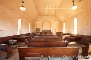Methodist Church, Green Street, interior, Bodie State Historical Park, California