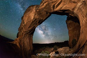 Milky Way and Stars over Broken Arch, Arches National Park, Utah. Broken Arch, Arches National Park, Utah, USA, natural history stock photograph, photo id 29238
