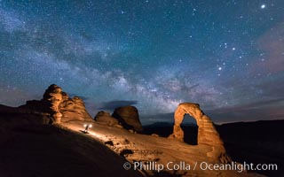 Light Painting and the Milky Way and Stars over Delicate Arch, at night, Arches National Park, Utah