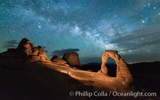 Milky Way and Stars over Delicate Arch, at night, Arches National Park, Utah. Delicate Arch, Arches National Park, Utah, USA, natural history stock photograph, photo id 29289