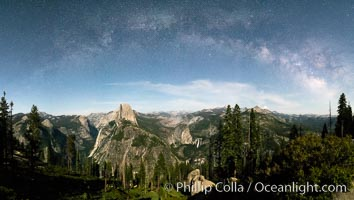 The Milky Way arches over Half Dome, and the Yosemite High Country, Yosemite National Park. California, USA, natural history stock photograph, photo id 36386