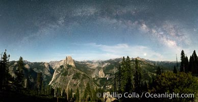 The Milky Way arches over Half Dome, and the Yosemite High Country, Yosemite National Park. California, USA, natural history stock photograph, photo id 36387