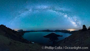 Milky Way and stars over Crater Lake at night. Panorama of Crater Lake and Wizard Island at night, Crater Lake National Park. Crater Lake National Park, Oregon, USA, natural history stock photograph, photo id 28641