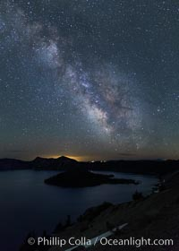 Milky Way and stars over Crater Lake at night. Panorama of Crater Lake and Wizard Island at night, Crater Lake National Park. Crater Lake National Park, Oregon, USA, natural history stock photograph, photo id 28644
