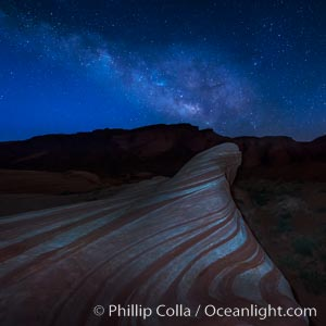 Milky Way galaxy rises above the Fire Wave, Valley of Fire State Park. Nevada, USA, natural history stock photograph, photo id 28427