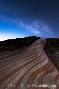 Milky Way galaxy rises above the Fire Wave, Valley of Fire State Park. Nevada, USA, natural history stock photograph, photo id 28429